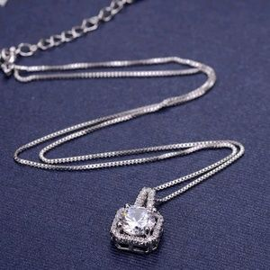 Cubic Zirconia necklace 925 SS plated